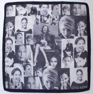 Designer-OTTO-KERN-Fashion-Photo-COLLAGE-Gray-Hand-Rolled-Silk-21-034-Small-Scarf