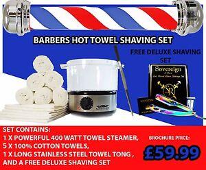 BARBER SHOP TOWEL WARMER .TOWEL STERILIZER  CABINET WITH FREE DELUXE SHAVING SET