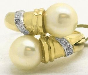 GENUINE-7-mm-dual-WHITE-PEARLS-amp-DIAMONDS-RING-14K-GOLD-New-with-Tag