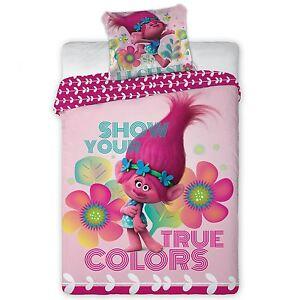 Trolls 100 Cotton Duvet Cover Set New Poppy Reversible