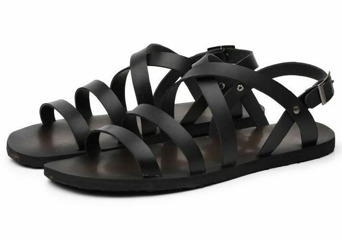 Summer Mens Roma Gladiator Strappy Leather Loafer Beach Sandals Casual shoes H78