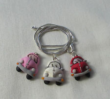 Handmade Unusual Kitsch Quirky Fimo Clay Beetle Car Pendant Charm Chain Necklace