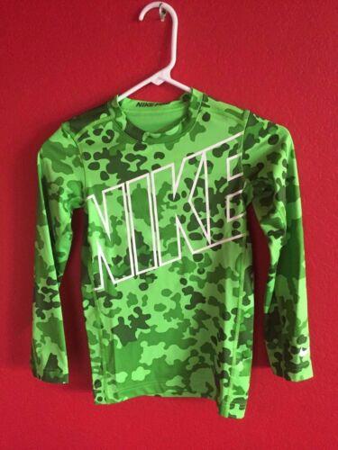 Nike Boys/' Warm Allover Print Compression Crew Training Shirt Green Size M NWT