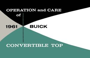 1961 Buick Convertible Top Owners Manual User Guide Reference Operator Book