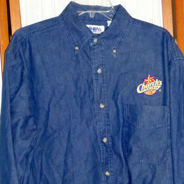 Men's Shirt Denim Advertising CHUCK'S CHICKEN & Just as Crisp Dark Blue L