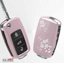VW SKODA SEAT Schlüssel Cover Hülle Abdeckung Schutz Design rosa flowers
