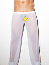 White Men's Sheer Mesh Long Pants Home Wear Gauze Underwear C-through Pants XL