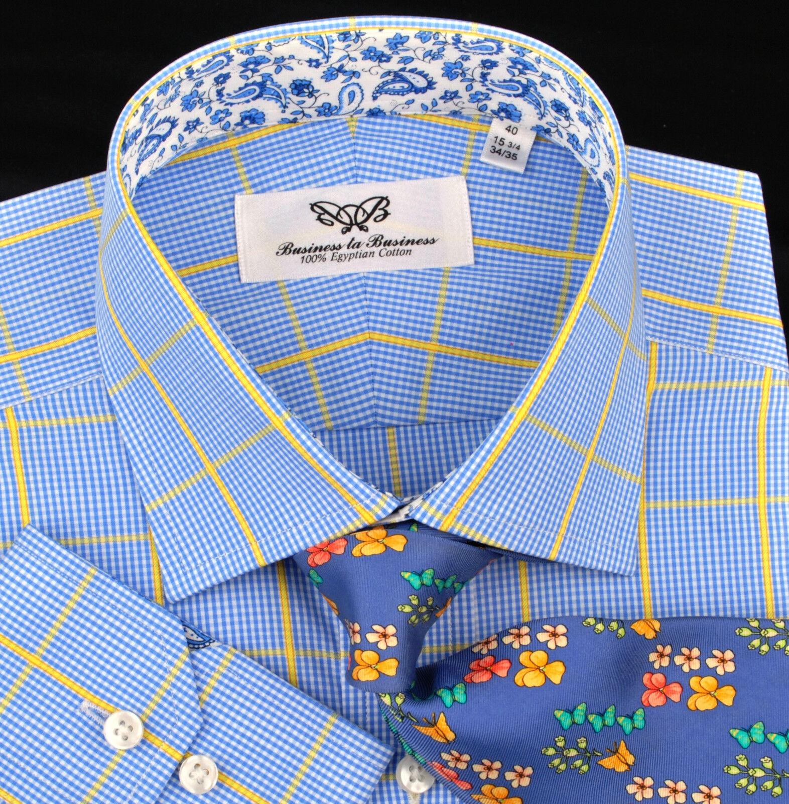 Blau Gelb Luxury Dress Shirt Formal Geschäft Contrast Farbes Paisley Flower