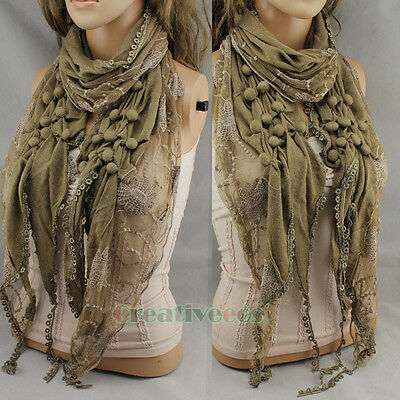 Cute Pom-pom Embroidery Net Lace Stitching Knit Wool Warm Scarf Wrap Lace Trim