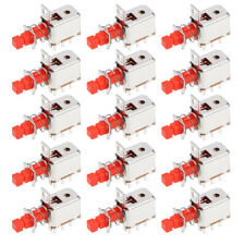 15 Pcs 6 Pins Latching Dpdt Tact Tactile Red Push Button Switches