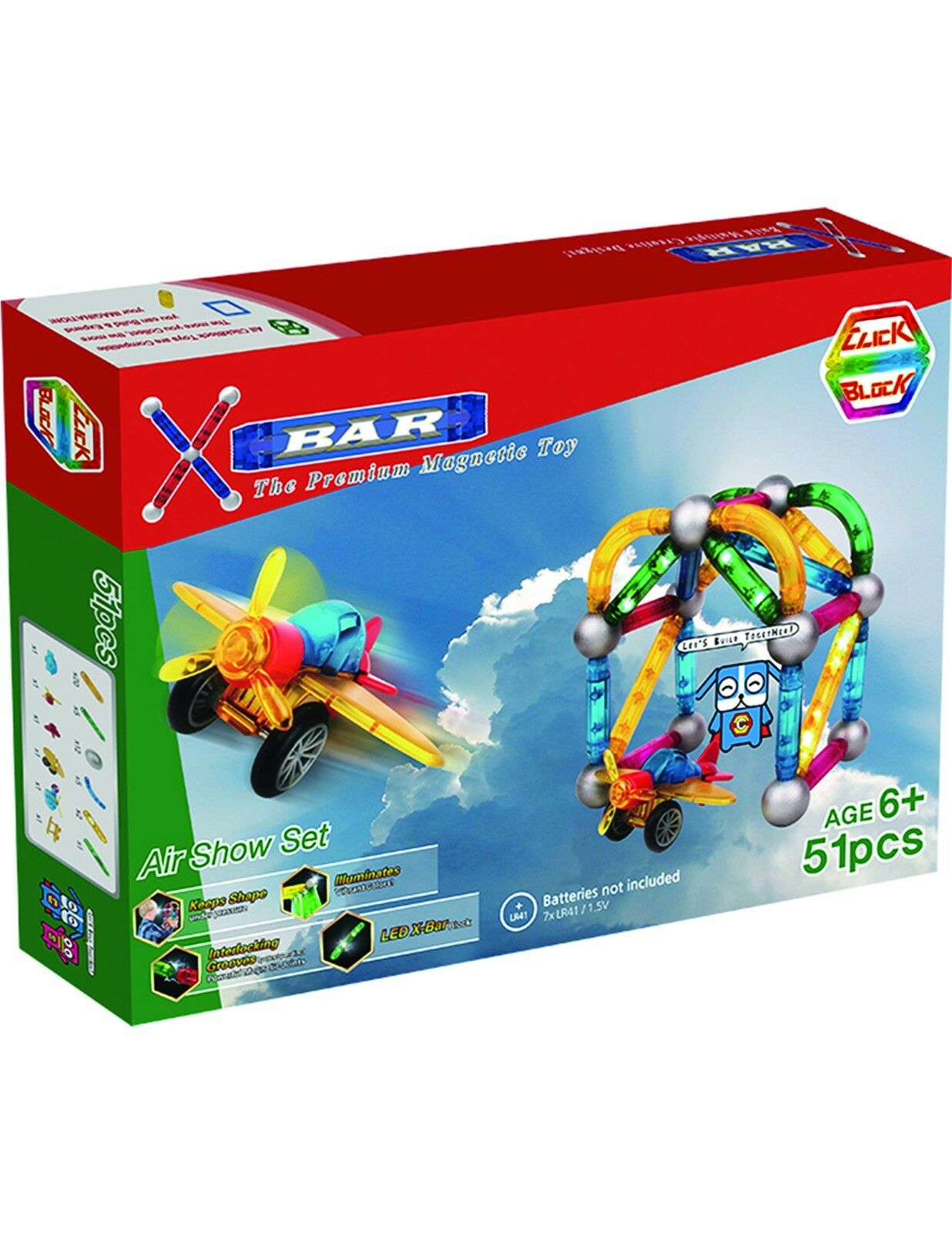 X-Bar Translucent Magnetic Bars and Steel Spheres, 51 Piece Air Show Set