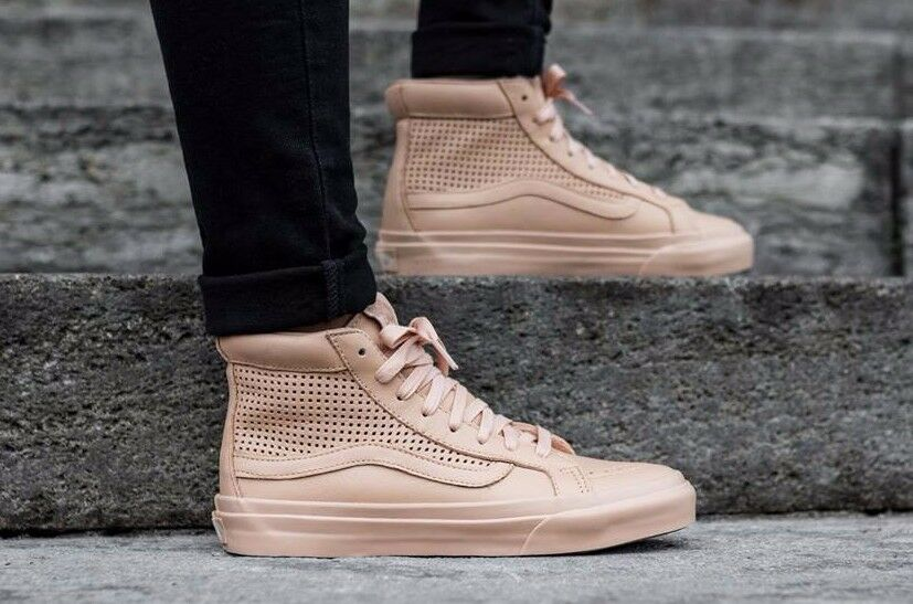 VANS Sk8 Hi Slim Cutout (Square Perf) Amberlight Leather WOMEN'S Shoes 8.5