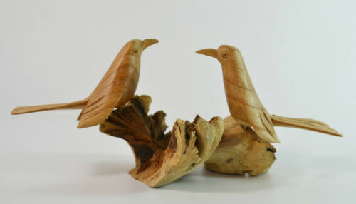 2 VÖGEL Figur PARASITENHOLZ ca.20cm Vogel Paar Holz Schnitzerei Naturholz RD471