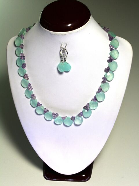 "Natural Chalcedony Faceted Heart Briolette Gemstone Necklace 18""-20"" inches"
