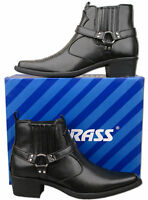 Mens Brand New Black Pull On Cowboy Western Ankle Boots Size 6 7 8 9 10 11 12