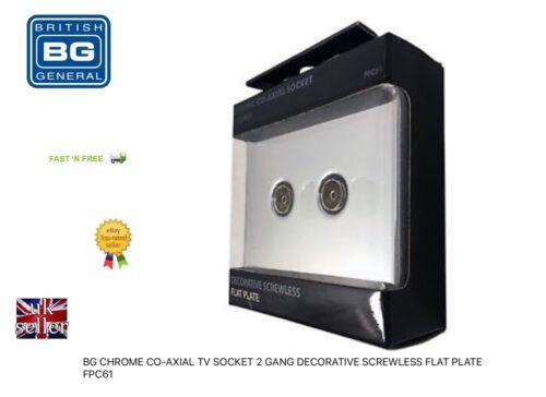 BG Chrome Co-axial TV Prise 2 Gang décoratif Screwless plaque plane FPC61