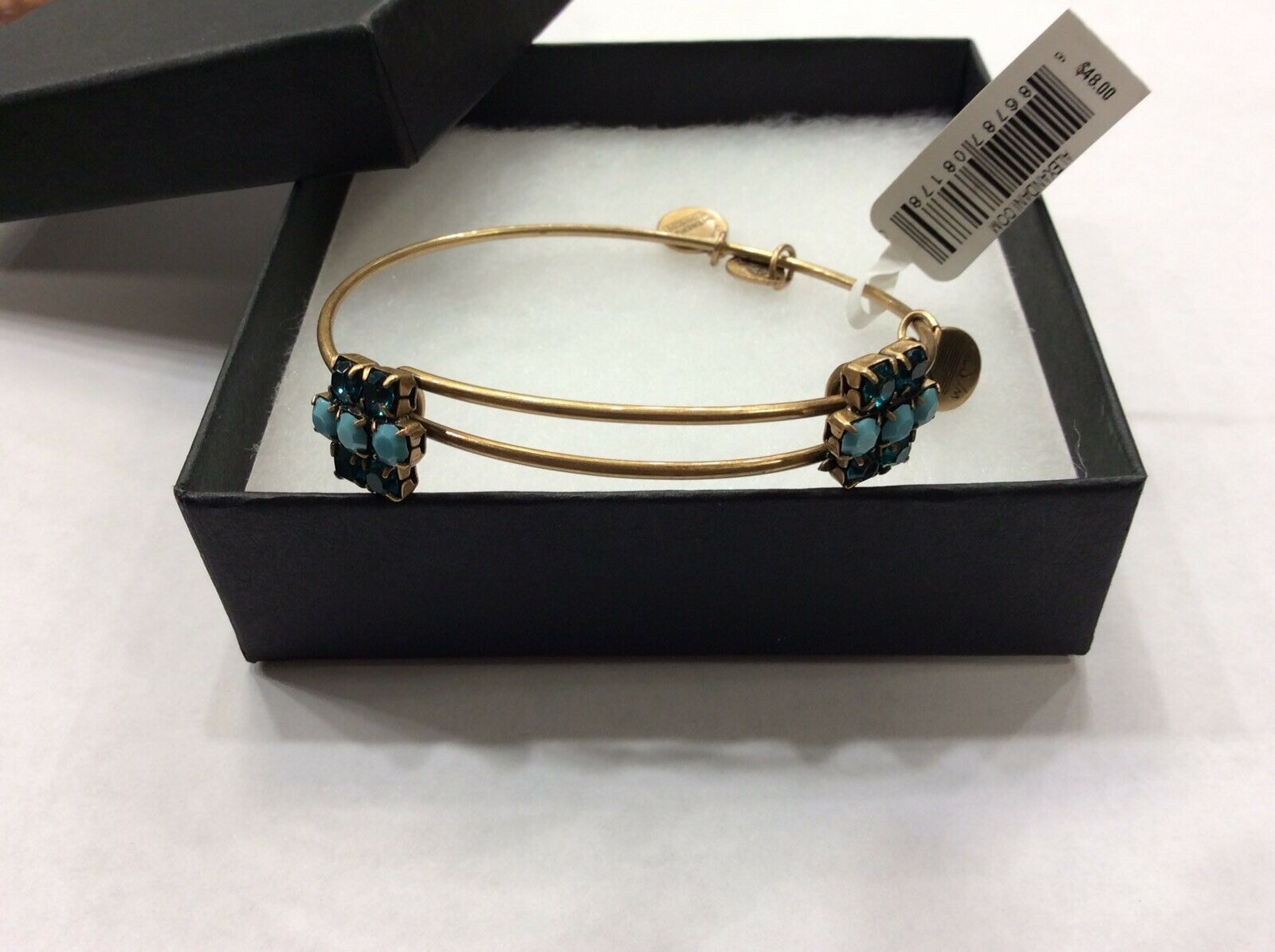 Alex And Ani Aqua Sparkler Russian gold  Beaded Bracelet   New With Tag