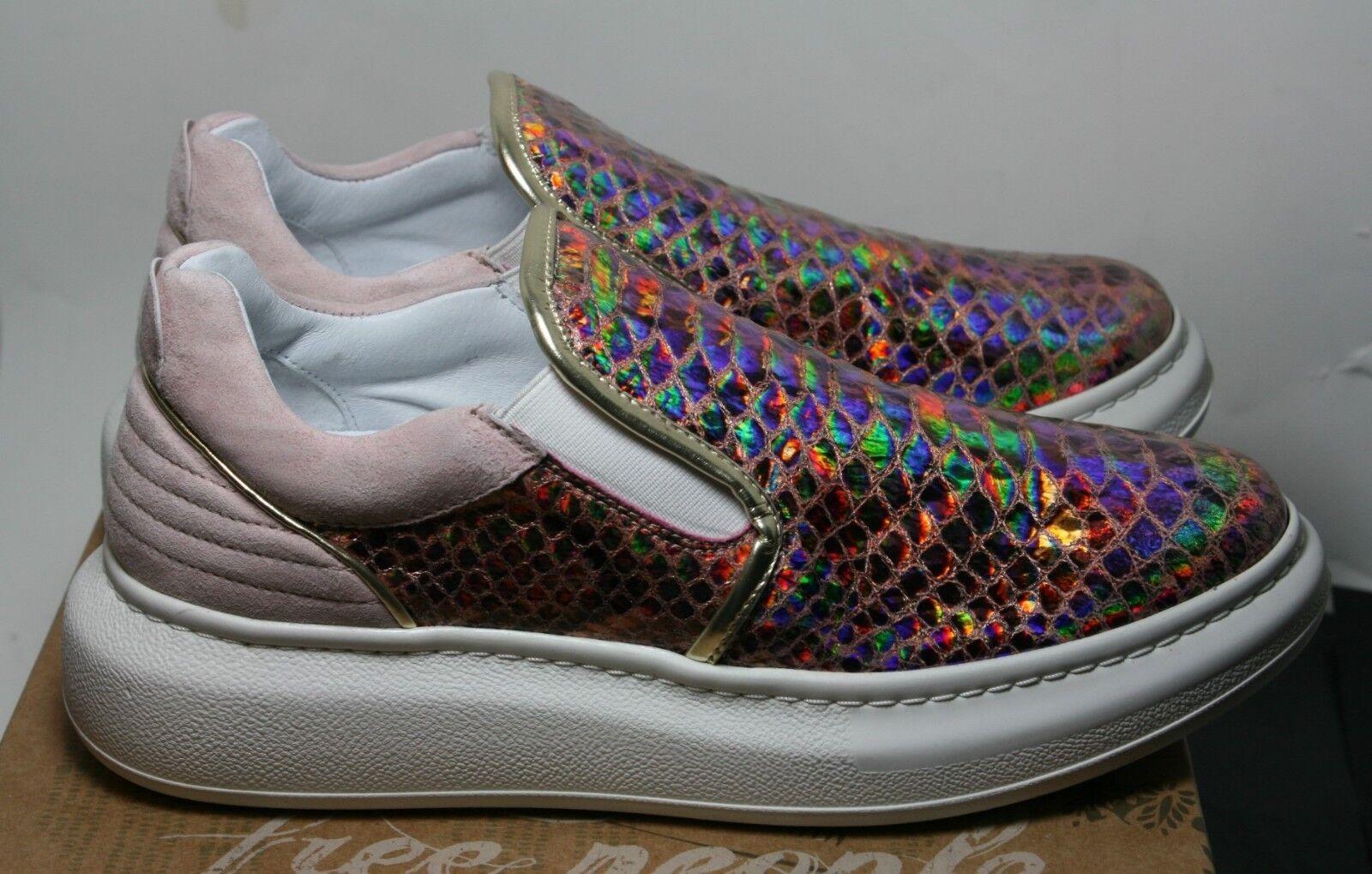 Zapatos Tenis Gratis Metálico Nova gente Gratis Tenis Nuevo 8  Piel De Serpiente textura FP Nuevo En Caja b0ef0d