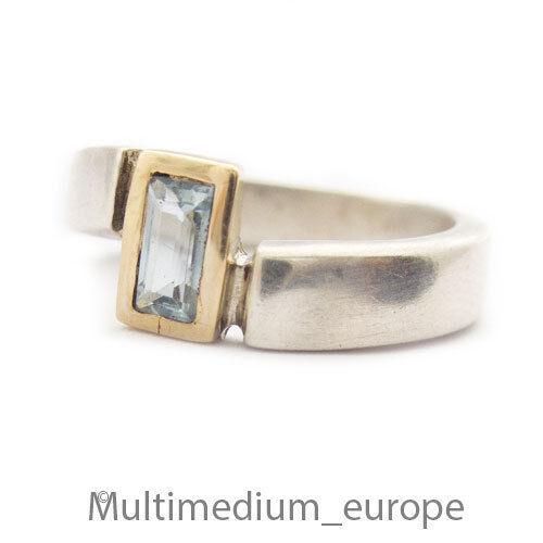 Silber Ring blau Topas vergoldet sterling silver gilt ring blue topaz 🌺🌺🌺🌺🌺