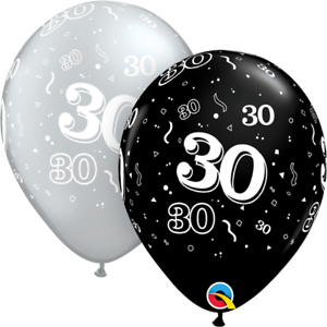 25-Noir-Argente-Age-30-Ans-Anniversaire-Ballons-en-Latex-Fete-Helium-Air