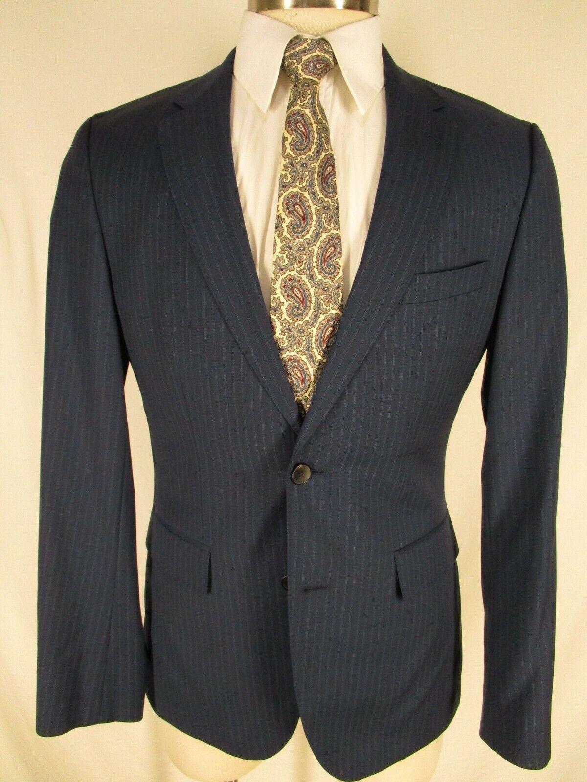 2e99f7059 Hugo Boss Johnstons Lennon Mens bluee Stripe 2 Btn Guabello S120s Suit 38R
