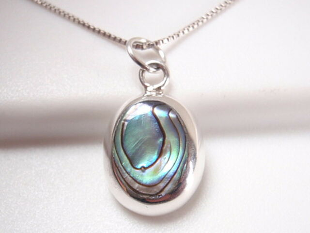 Abalone Oval 925 Sterling Silver Necklace Corona Sun Jewelry