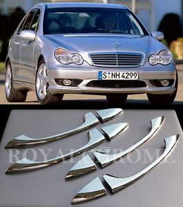 UK-STOCK-RHD-ROYAL-CHROME-Door-Handle-Covers-for-Mercedes-W203-W211-W219-C-E-CLS