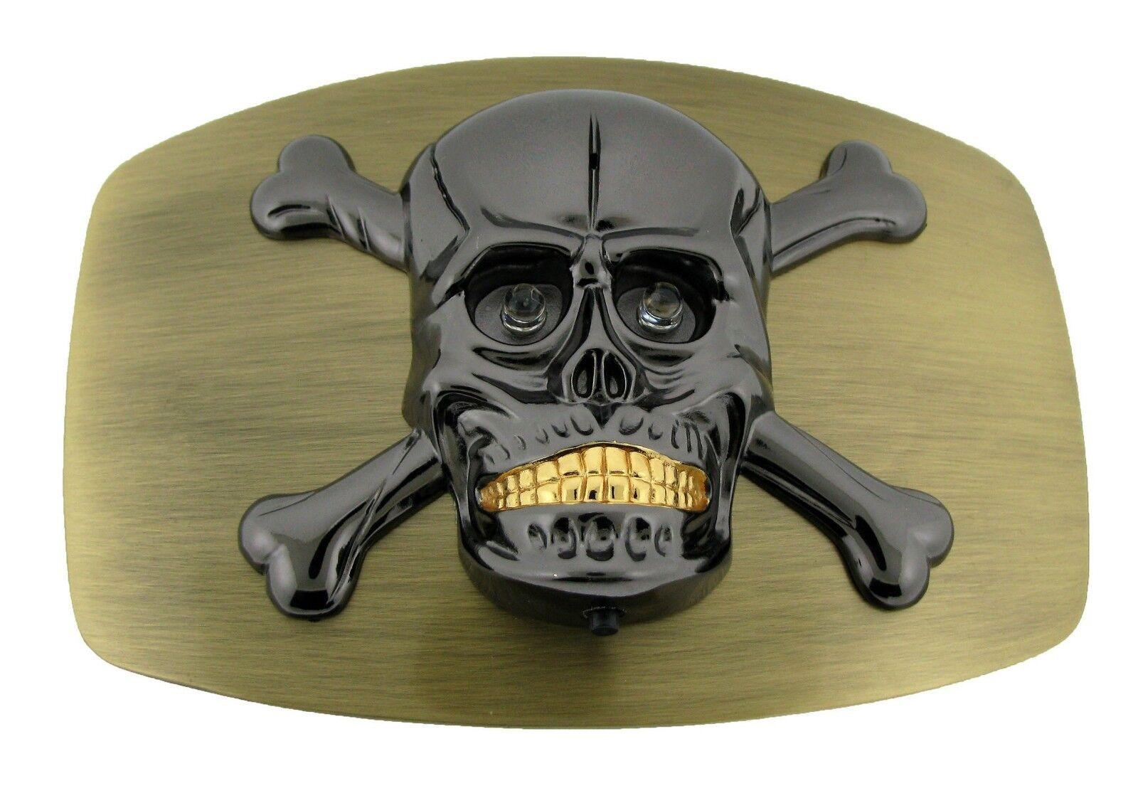 Groß Herren Totenkopf Skelett Gürtelschnalle Tattoo Gotik Damen Tribal Halloween