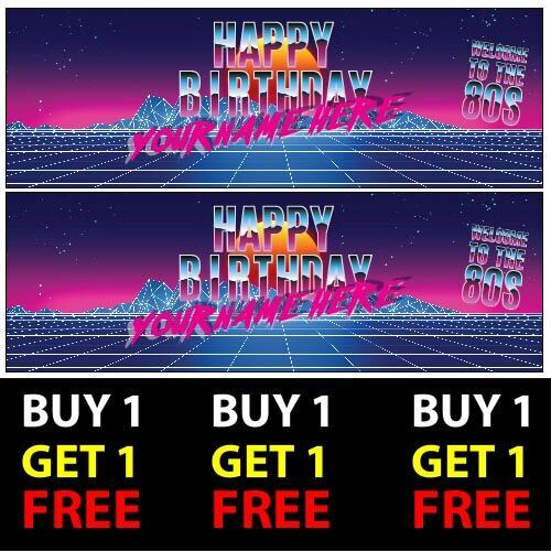 80s Eighties Themed Personalised Birthday Banners 100gsm Party Decor