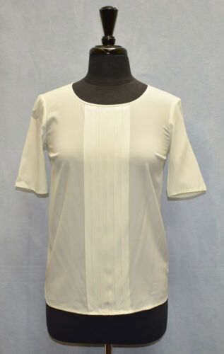 Auth ST JOHN Ivory Stretch Silk Blend Pleated Fron