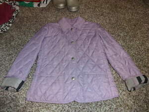 Image is loading BURBERRY-GIRLS-6Y-6-PURPLE-QUILTED-COAT 41ab3118e6