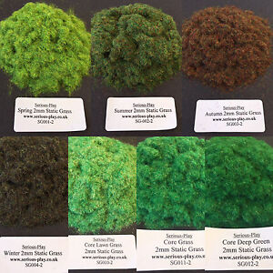 Serious-play 7x Ensemble d'herbe statique ~ Modèle Flock Warhammer Scenery Railway 2mm