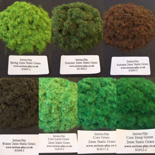 Serious-Play 7x Static Grass Set ~ Model Flock Warhammer Scenery Railway 2mm