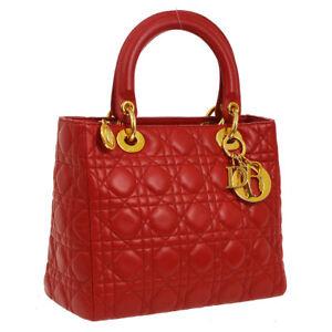 deebbd52c4cb Auth Christian Dior Lady Dior Cannage 2way Hand Bag Red Leather ...