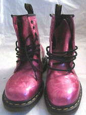DR MARTENS AIR WAIR LADIES PINK PATTERNED PATENT LACE UP ANKLE BOOTS SIZE 4 NEW