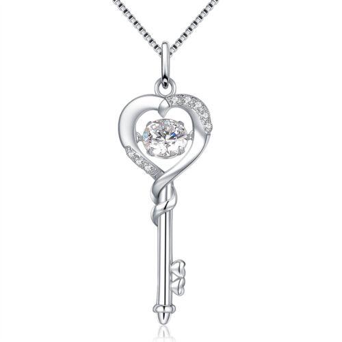 Women 925 Sterling Silver Heart Shaped Necklace Dancing CZ Jewelry Key Pendant