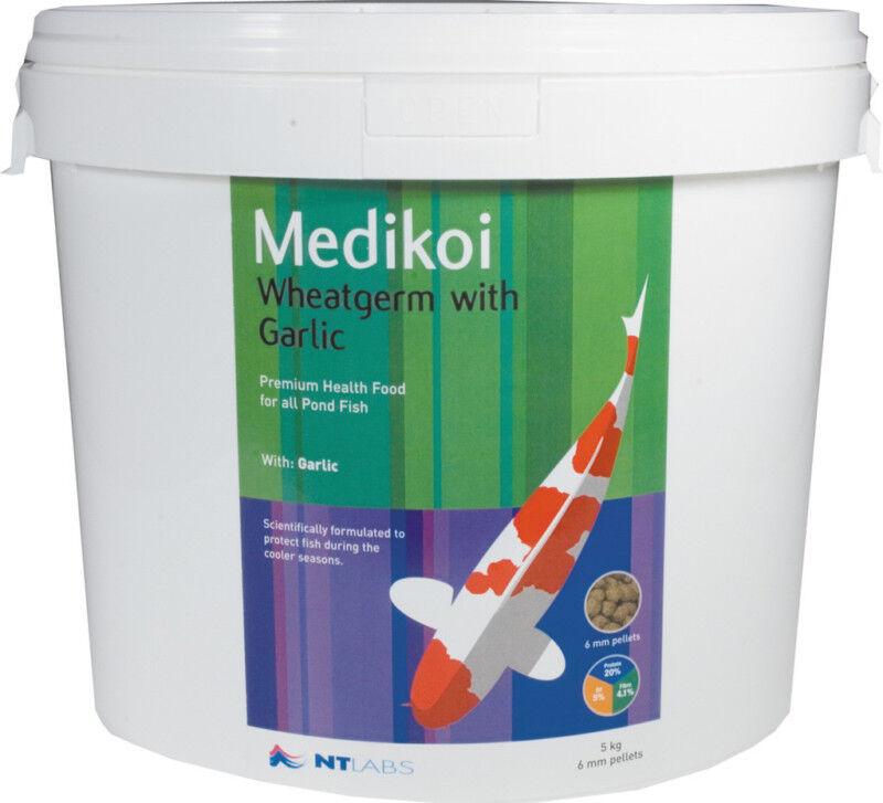 NT Medikoi Wheatgerm + Garlic 5kg 6mm Pellet Quality WInter Koi Pond Fish Food