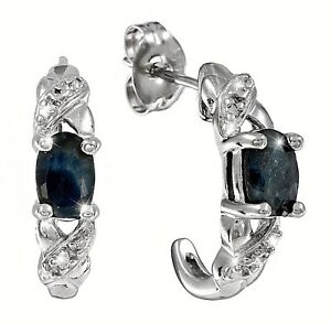 Saphir-Ohrstecker-Saphir-Diamant-Halb-Creole-925-Sterling-Silber