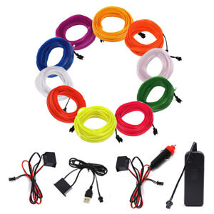 Car-Flexible-LED-Neon-Light-Glow-EL-Strip-Tube-Wire-Rope-12V-Battery-USB-Operate