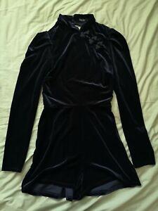 Bershka-Women-039-s-Black-Velvet-Open-Back-Playsuit-Size-L-Large-New-With-Tags