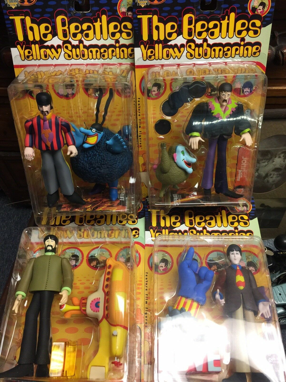 Beatles Gelb Submarine Figures - All Four - Unopened - 1999 - McFarlane Toys