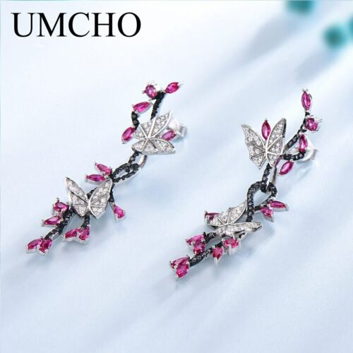Details about  /925 Sterling Silver Butterfly Natural Gemstone Black Spinel Ruby Drop Earrings
