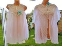 V52 Vintage Pippa Dee White Lace Nylon Babydoll Nightie Robe Bridal Set S/m