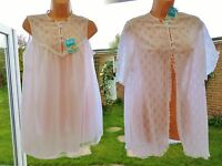 V52 Vintage Pippa Dee White Lace Nylon Babydoll Nightie Robe Bridal Set S/m