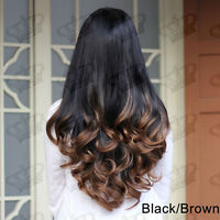 New Ladies Ombre Black/Brown Clip In Long Wavy Hair Piece 3/4 Wig Fall Half Wig
