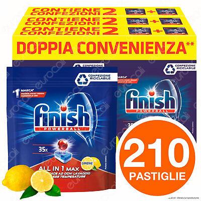 210 Pastiglie Lavastoviglie Detersivo Finish Powerball Limone AIO All in 1 Max