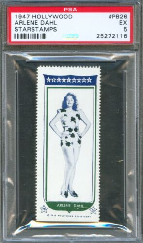 1947 Hollywood Star Stamps #PB26 ARLENE DAHL My Wild Irish Rose Actress PSA 5