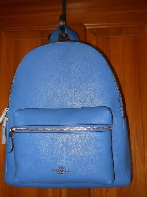 e08a8dfdc480 NWT Coach Lapis Charlie Backpack Pebble Leather Full Size  395 F38288