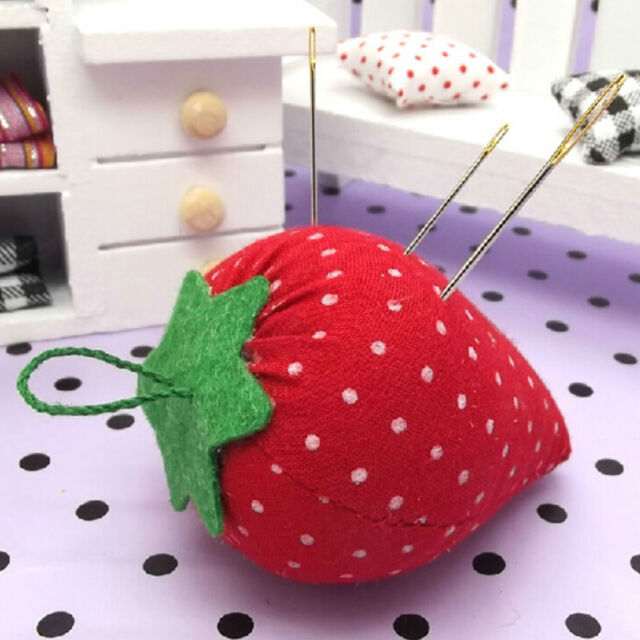 Cute Strawberry Style Pin Cushion Pillow Needles Holder Sewing Craft Kit  SE