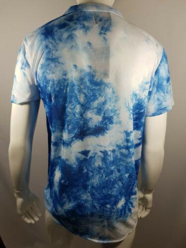 Homme Tie Dye bleu à manches courtes Revere shirt XL BNWT RRP £ 20